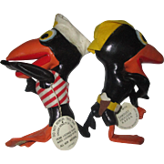 Vintage Cartoon Raven bird crows Heckle and Jeckle Vinyl leatherette toys excellent condition - Red Tag Sale Item