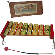 Vintage toy tin xylophone toy still in original box unused child's musical toy