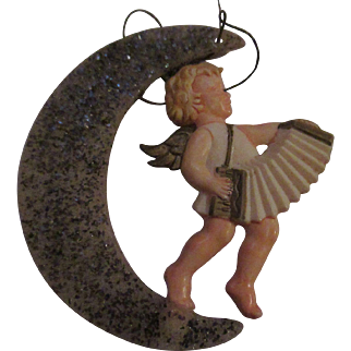 Vintage Mica covered Crescent Moon with angel musician ornament older