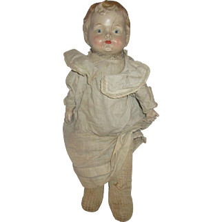 """Antique composition Sawdust filled smelly original doll 20"""" needs love and work"""