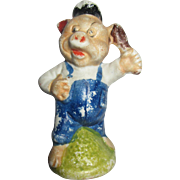 "Tiny 3"" Bisque Three little pigs vintag figurine"