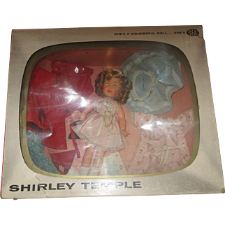 """12"""" Shirley Temple with wardrobe IDEAL doll 1950's in original TV box, pin, never played with"""