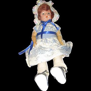 "Vintage IDEAL Flossie Flirt doll 22"" composition flirty eyes overbite 1920's"