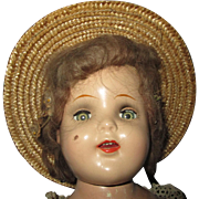 """Unmarked composition beauty doll  19"""" Possible ideal Cinderella 1930's Pretty"""