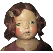 Composition-baby-doll-22-034-with-straw-filled-body-tin-eyes-mohair-wig- teeth TLC needed