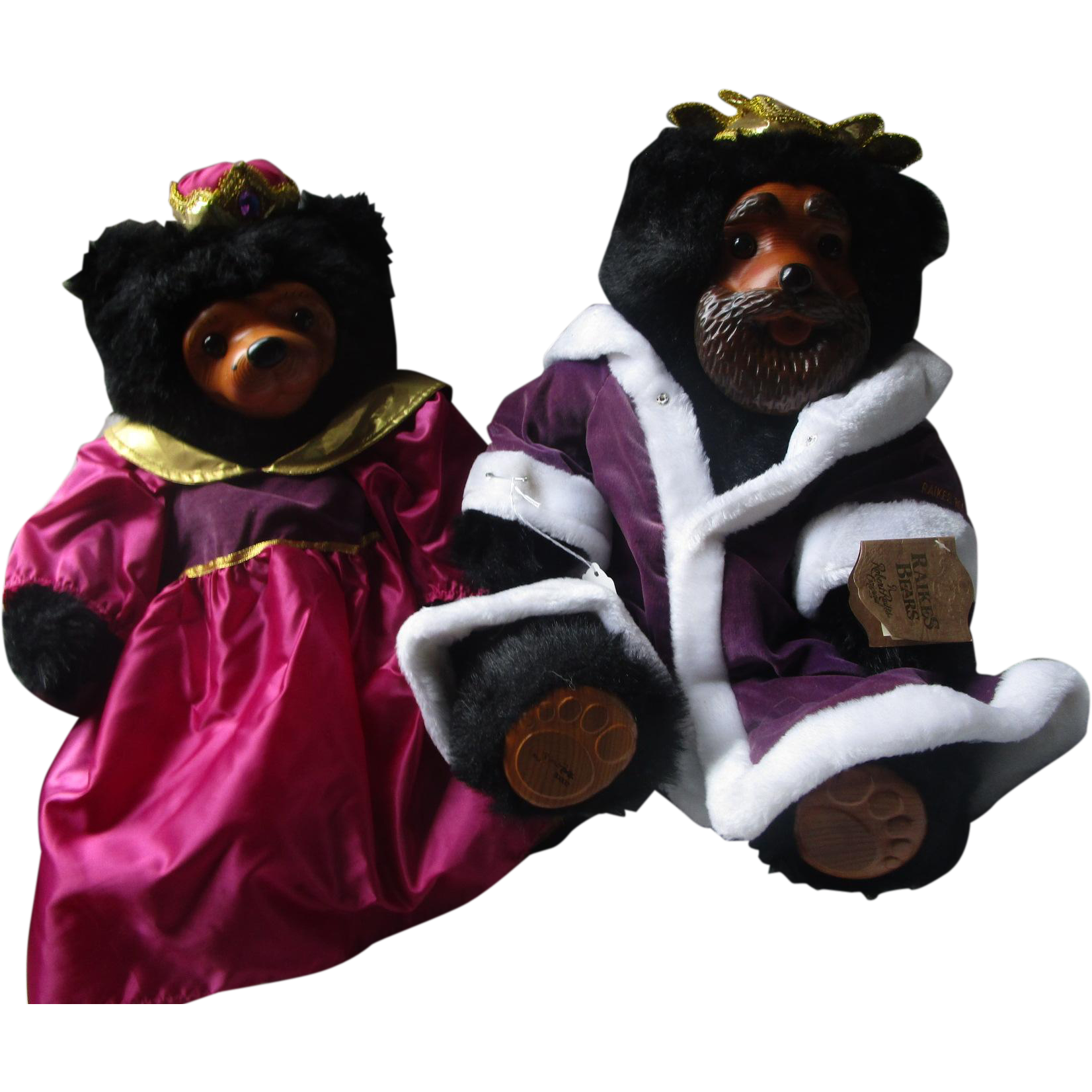 King William and Queen Mary large black bear teddys by Raikes wooden faces teddy pair couple