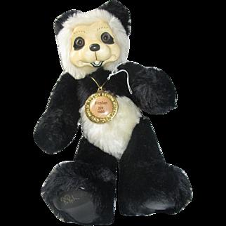 Lovely Robert Raikes RARE Panda bear teddy poses, 30th anniversary wooden face