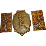 Mid-Century Wooden carved wall decor plaques set Gladiators, queen, king signed set Kelley