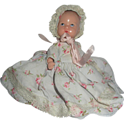 Vintage Hollywood Doll baby original dress, bonnet, diaper, booties adorable Hard to Find 1940's Painted eyes