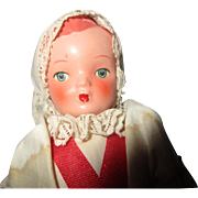 "Gorgeous 7"" strung Czechoslovakia Celluloid dollhouse doll maiden beautiful condition 1963"