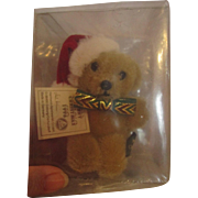 "Miniature sealed Teddy Bear brooch pin Germany Hermann-Spielwaren 1996 Christmas teddy all tags 4"" tall"