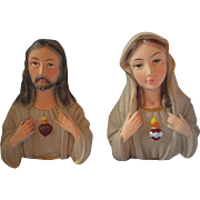 Vintage Bisque ceramic Jesus and Mary religious wall decor busts Ucago Japan gorgeous coloring