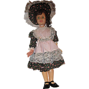 "vintage Tall Playpal Creepy playmate doll 35"" tall with old dress bonnet shoes and new wig"