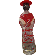 "Lady figurine Wine Bottle RARE MALAGA wine miniature 6.5"" tall red hat"