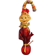 """Unusual old elf Christmas candy cane ornament knee hugger rubber elf face vintage 1960! Cute 6"""" tall approx."""