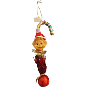 Knee hugger type elf vintage ornament candy cane hanging Christmas elf ornament 1960's.