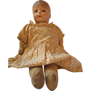 1920's IDEAL Baby doll composition cloth sleep tin eyes doll Ideal diamond mark RARE