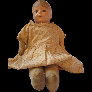 1920's IDEAL Baby doll composition cloth sleep tin eyes doll Ideal diamond mark RARE