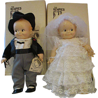 O'Neill Cameo KEWPIE Bride and Groom vinyl dolls adorable set boxed wedding dolls