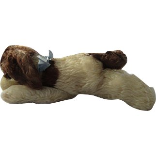 """Steiff sleeping dog vintage Floppy Cockie Cocker Spaniel with all tags and ID 12"""" long"""