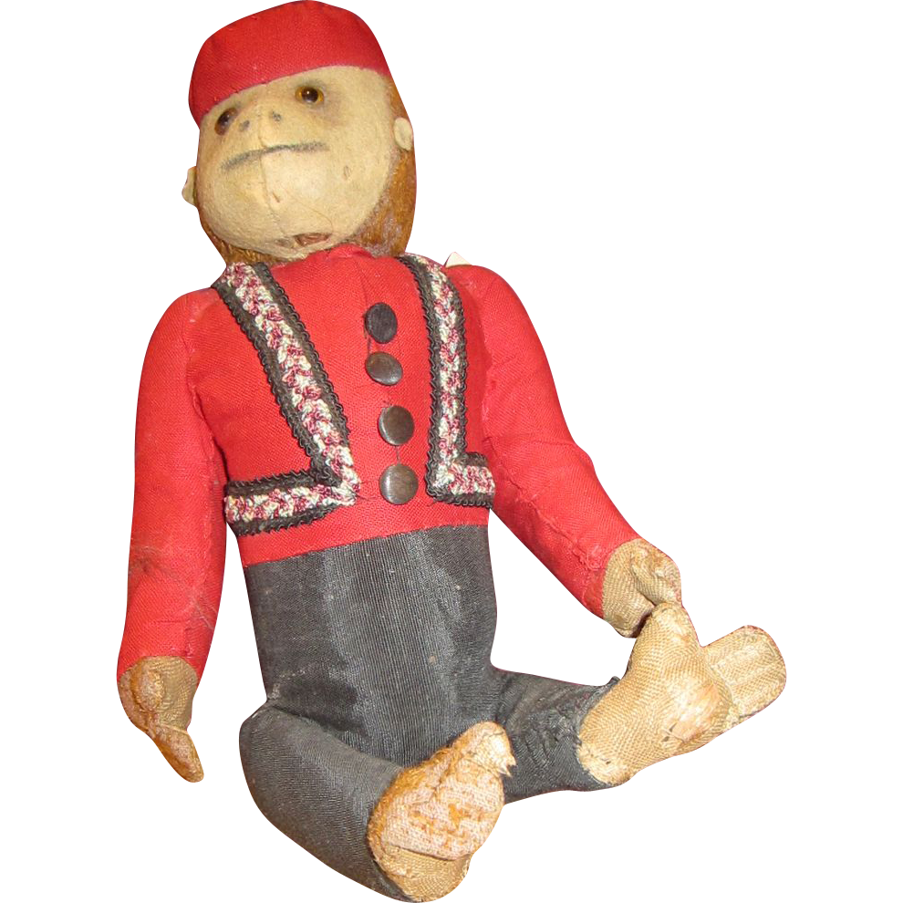 Vintage Schuco Bellhop yes no monkey chimpanzee old stuffed toy