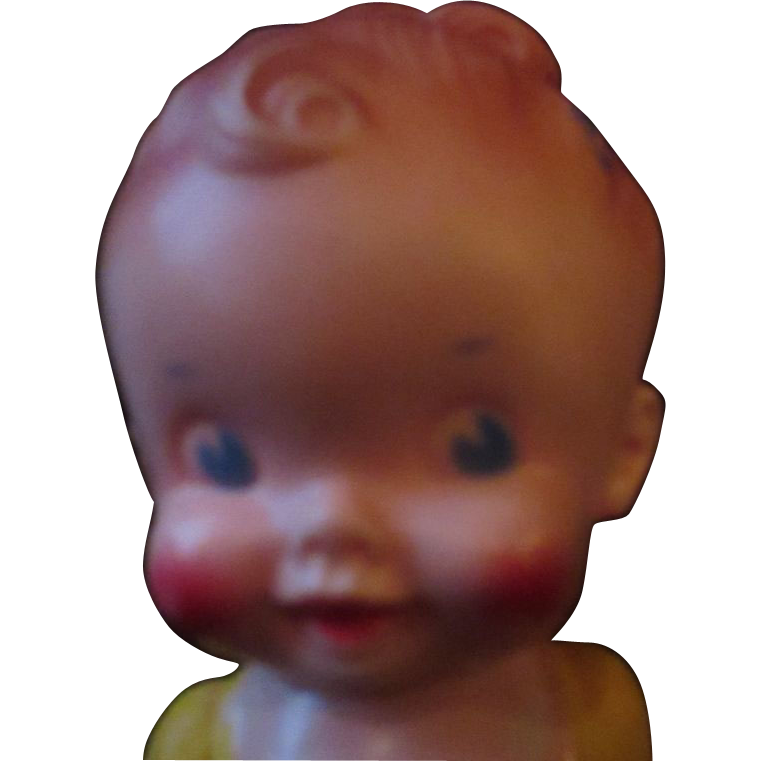 "Sun Rubber Ruth newton squeak toy doll in yellow 8"" tall"