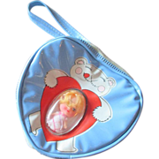 Liddle Kiddle era clone doll in blue child's carry purse