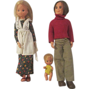 Vintage 1970's Sunshine Family dolls Mattel Mom, Dad, Baby Sweets all original