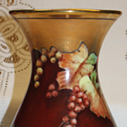 Bavarian Porcelain Hand Painted Currants Vase