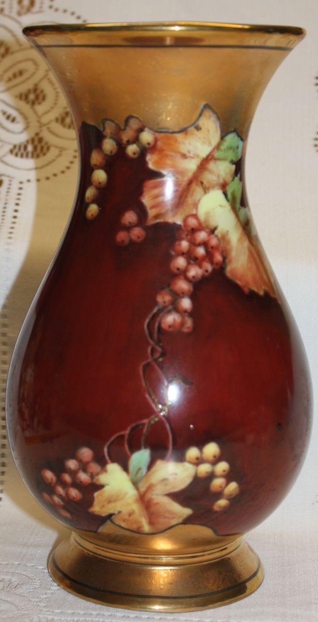 Bavarian Porcelain Hand Painted Currants Vase