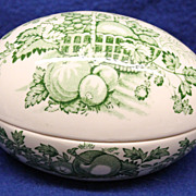 Mason's Green Tranferware Ironstone Pottery Egg Box