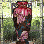 Huge Unmarked Nippon Moriage Hand Painted Floral Pottery Vase