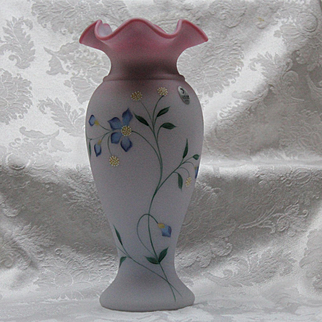 Fenton Art Glass Blue Burmese Vase