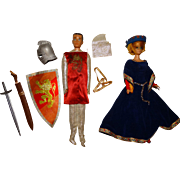 Vintage Barbie & Ken Dolls Wearing King Arthur & Guinevere Outfits