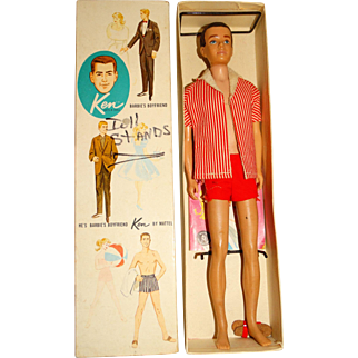 Vintage Brunette Flocked Hair Straight Leg Ken Doll w/Box