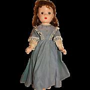 "Madame Alexander Vintage 1949 Hard Plastic 15"" Little Women Jo Doll w/Blue Gown"