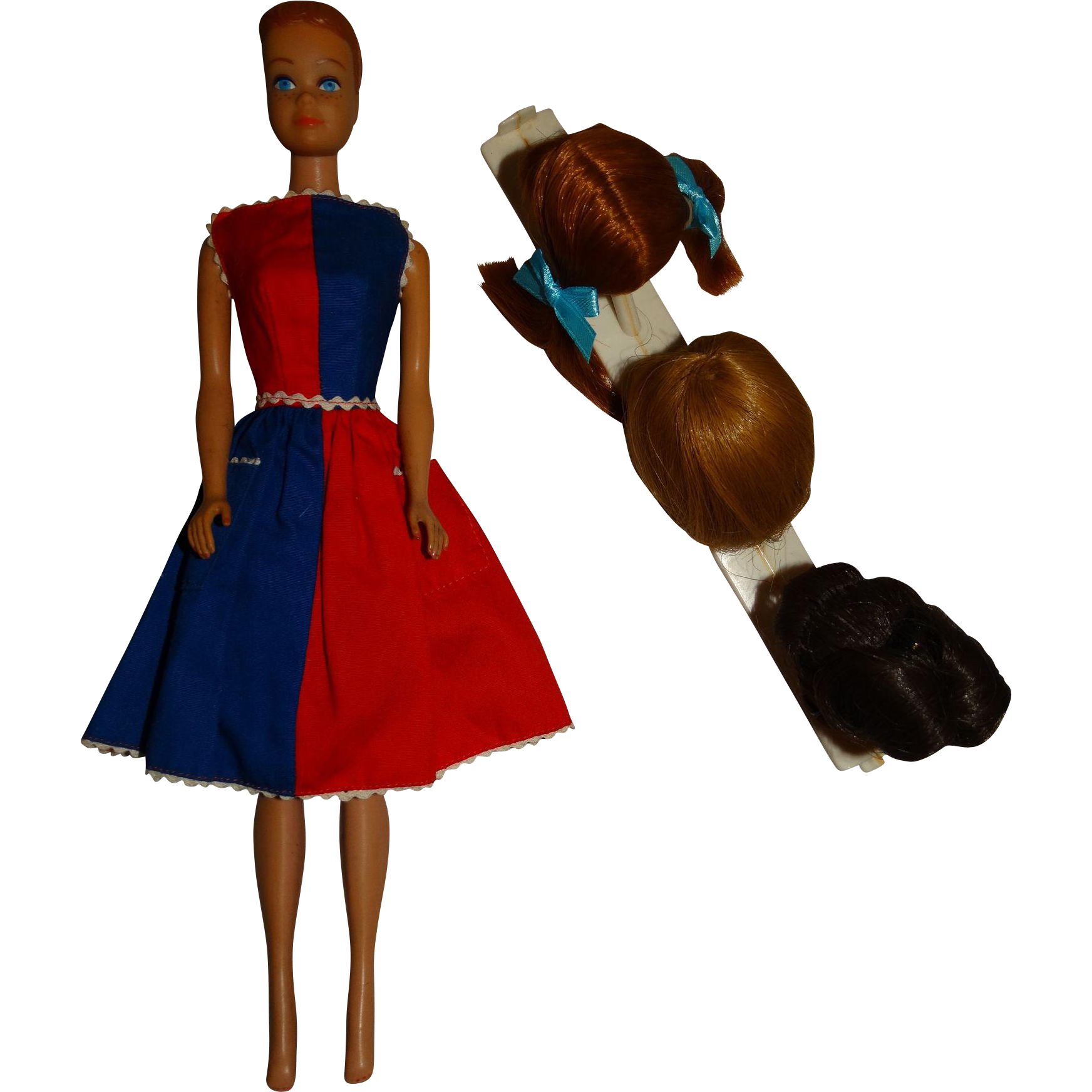 Vintage Molded Hair Midge Doll w/VHTF Wigs & Stand