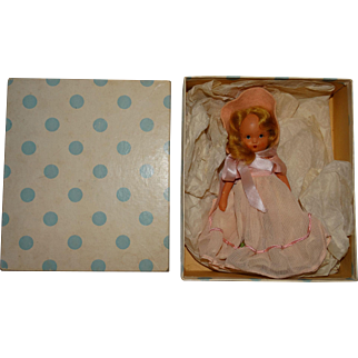 NASB Vintage 1940s Bisque Nancy Ann Storybook Doll #27 Forget Me Nots w/Box