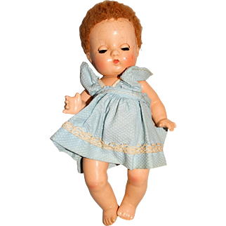 """Effanbee Vintage 9"""" Composition Patsy Babyette Doll w/Caracul Wig"""