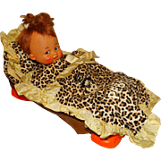 "Ideal Vintage 1963 15"" Vinyl Pebbles Flintstone Doll w/VHTF Cradle"