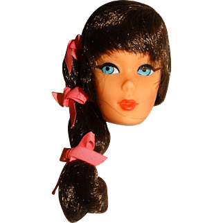 Vintage Brunette Side Ponytail Talking Barbie Head w/Factory Hair Set