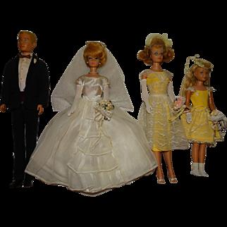 Vintage Complete Barbie Ken Skipper Midge Wedding Party Giftset