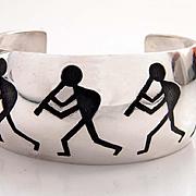 Manuel Hoyungowa Hopi Overlay Sterling Silver Bracelet Kokopelli Motif