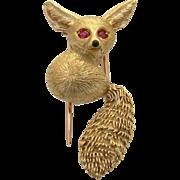 Cartier Paris 18k Gold & Ruby Brooch / Pin numbered Desert Fox