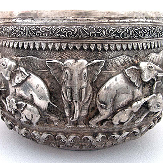 Large Antique Burmese Silver bowl Elephants bowl repousee Thabiek Bowl 1890