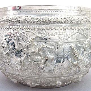 Large Antique Burmese Silver Bowl Thabiek 950 Silver