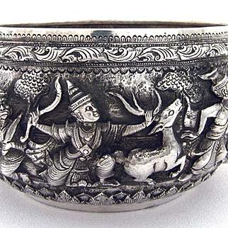 Antique Burmese Silver Bowl Thabiek Hunting Motif