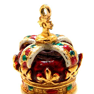 Vintage British 9k Gold Charm Crown Jewels