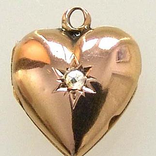 Vintage 14k Gold Heart & Diamond Charm