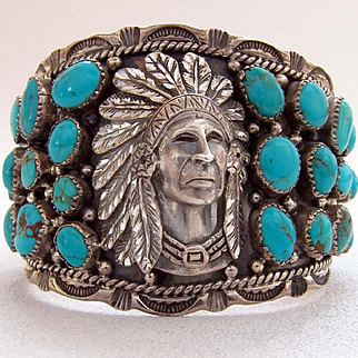 Sterling Silver and Turquoise Cuff Indian Chief Repousse Artwork Navajo Artisan